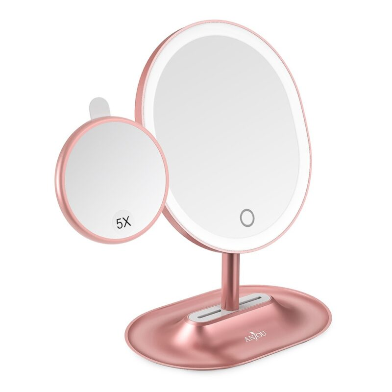 Anjou Makeup Mirror Rechargeable LED Pink